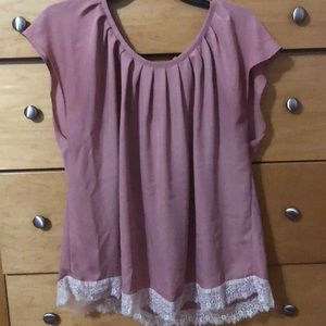 Blush Short Sleeve Blouse with Lace Trim